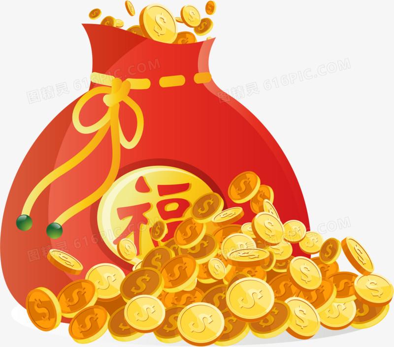 红色金币喜庆新年矢量仿真福袋
