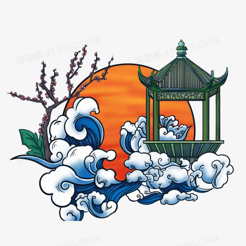 原创国潮风格海浪场景元素