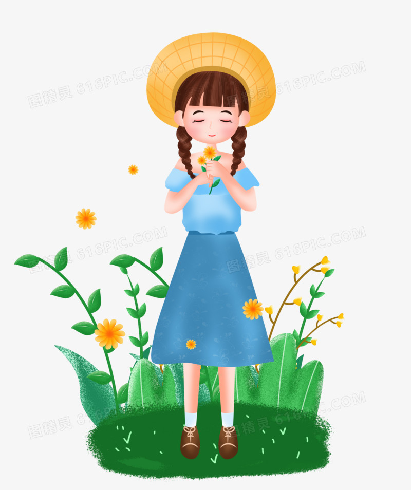 手绘卡通拿着花朵的春天女孩