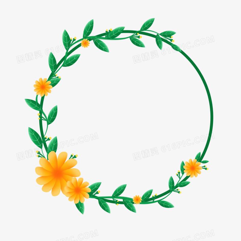 春天花卉绿色植物圆形边框