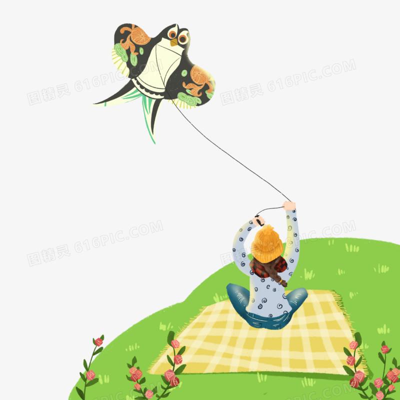 原创免扣春天小孩放风筝元素