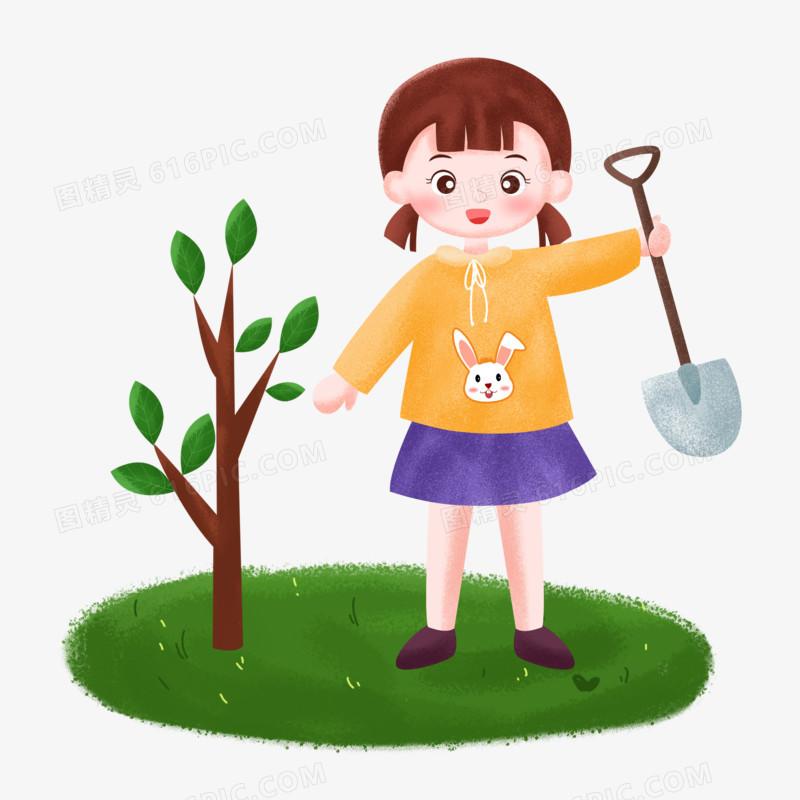 植树节之手绘卡通女孩拿着铁锨种树