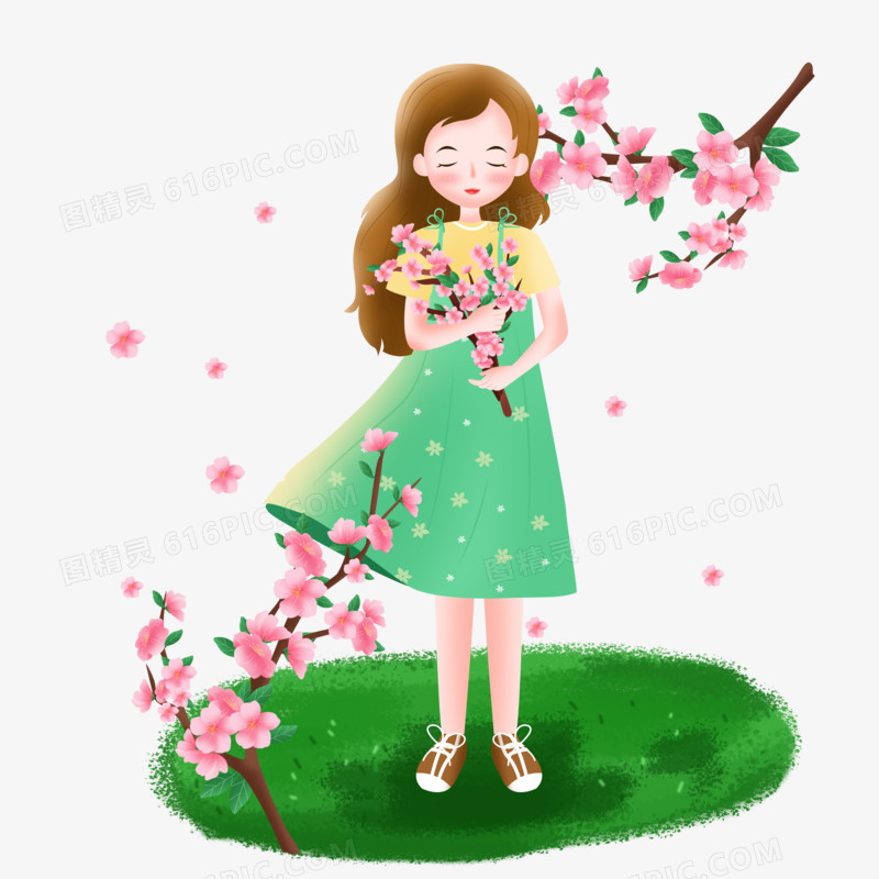 手绘卡通唯美的春天女孩捧着桃花