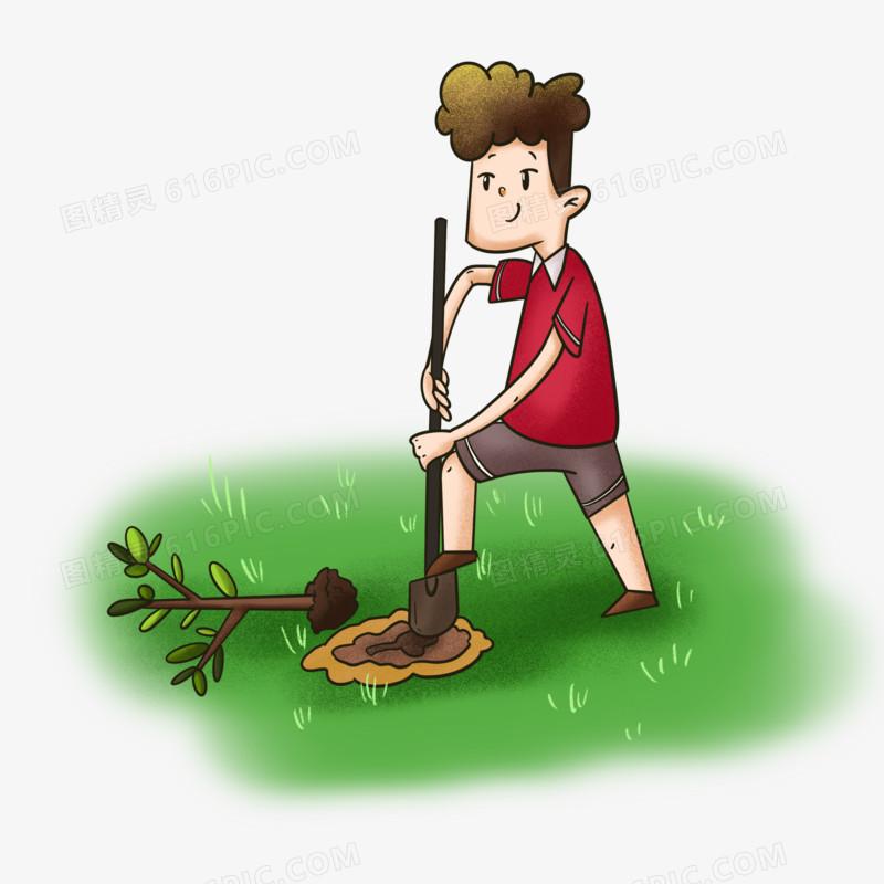 原创卡通植树节种树元素