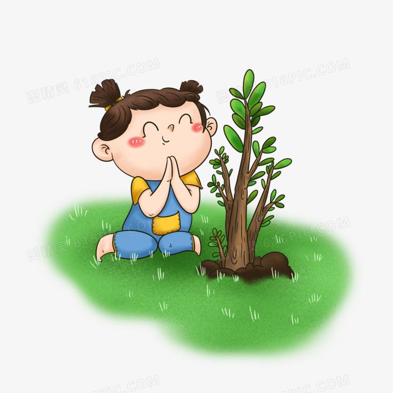 原创卡通免扣植树节小孩种树元素