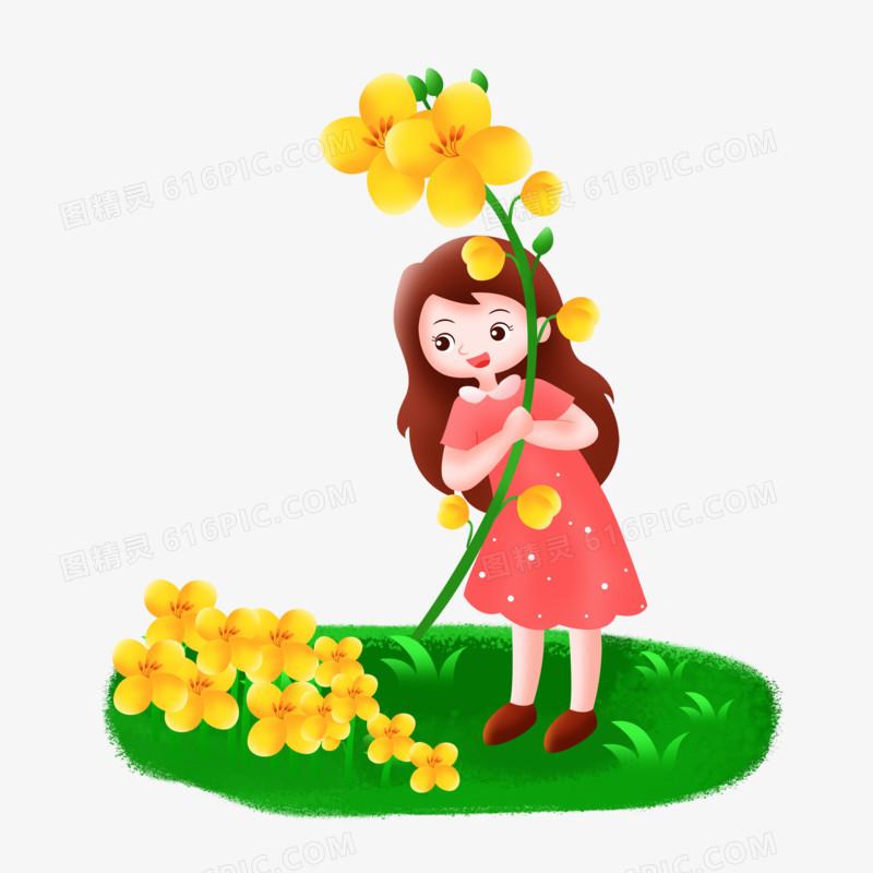 立春之手绘卡通拿着油菜花的女孩子