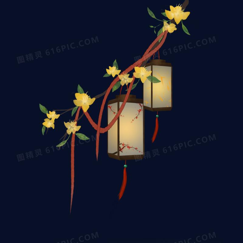 中国风水墨画春天立春迎春花灯笼元素