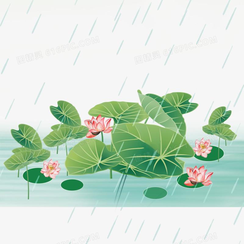 卡通清新创意二十四节气谷雨元素荷花花卉