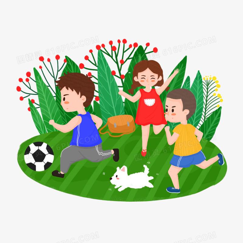 手绘风踢足球欢呼的儿童场景元素