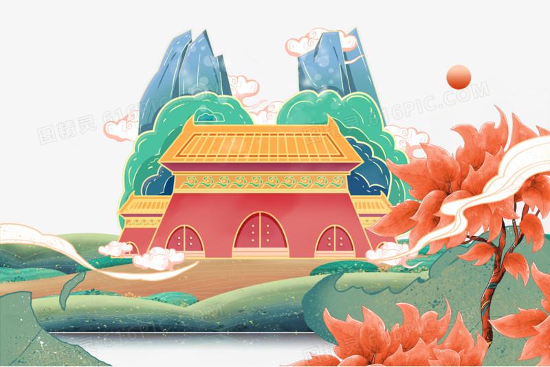 国潮风格中国建筑元素