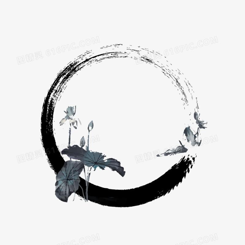 手绘水墨荷花池塘免抠元素