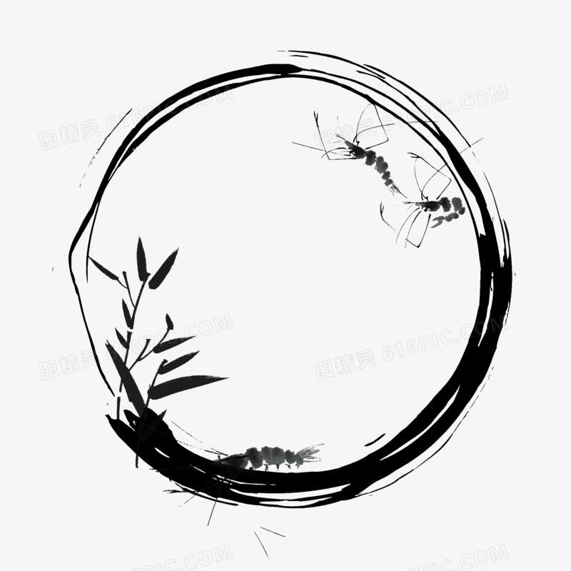 手绘水墨草虾竹叶免抠元素