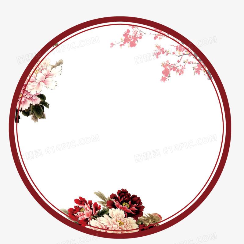 古典中国风圆形边框屏风