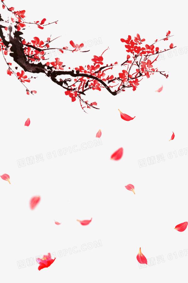 古风红色梅花和漂落的花瓣