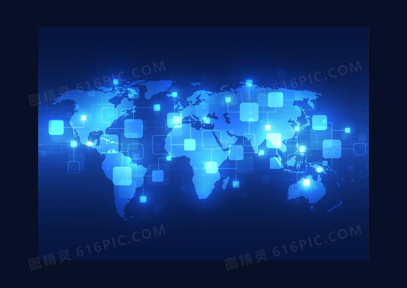 蓝色科技光效地球背景