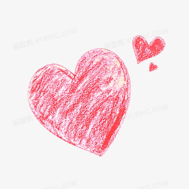 爱心粉笔画免抠素材