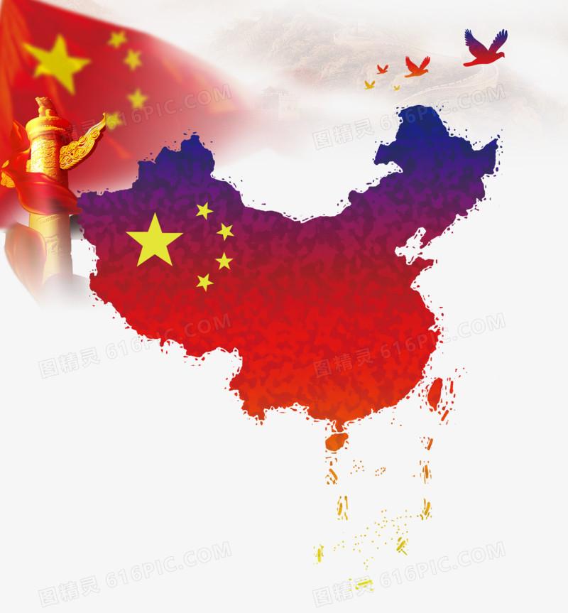国庆节建党节建军节红色中国地图国旗国柱和平鸽