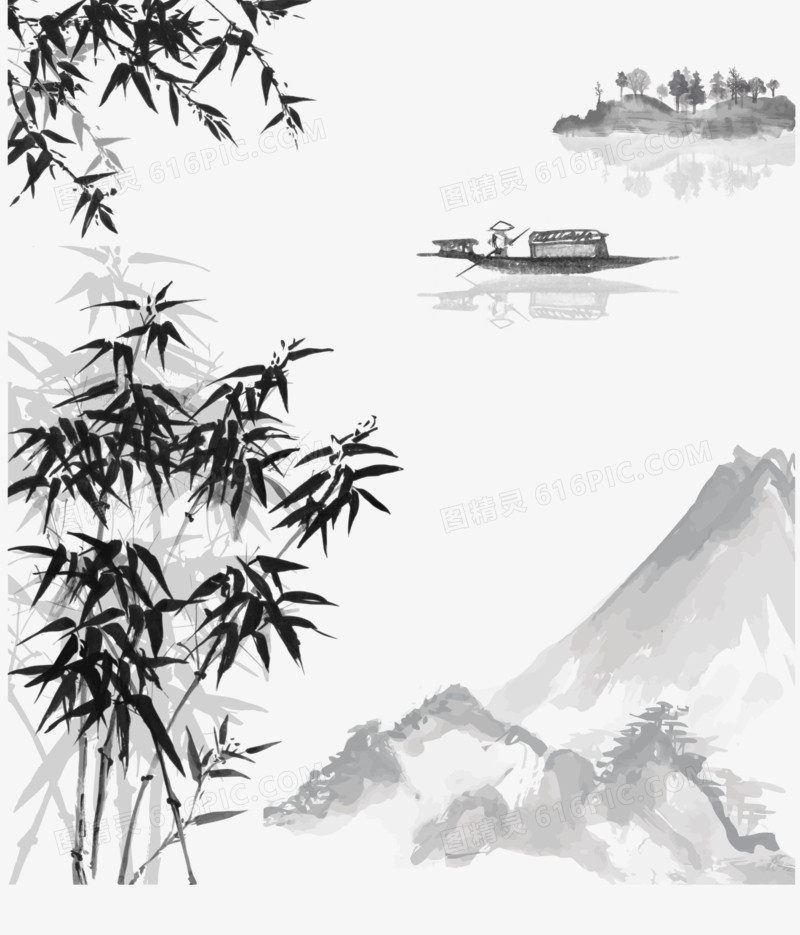 矢量手绘中国水墨山水