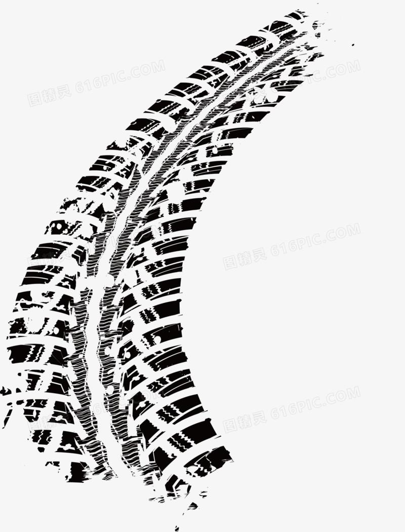 黑色轮胎印设计矢量图