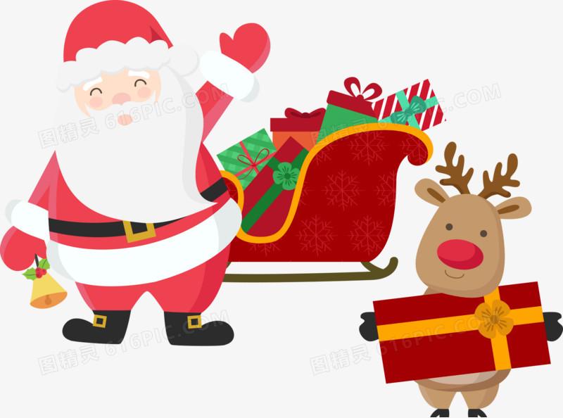 圣诞老人雪橇与麋鹿图片