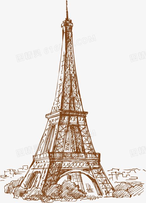 手绘巴黎铁塔 建筑图片免费下载_高清png素材_图精灵