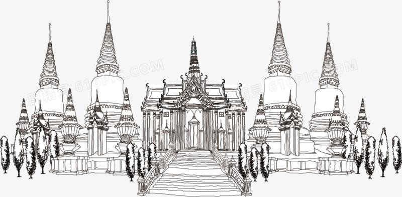 手绘泰国建筑