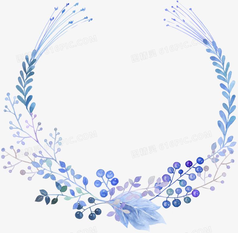 蓝色水彩手绘花环