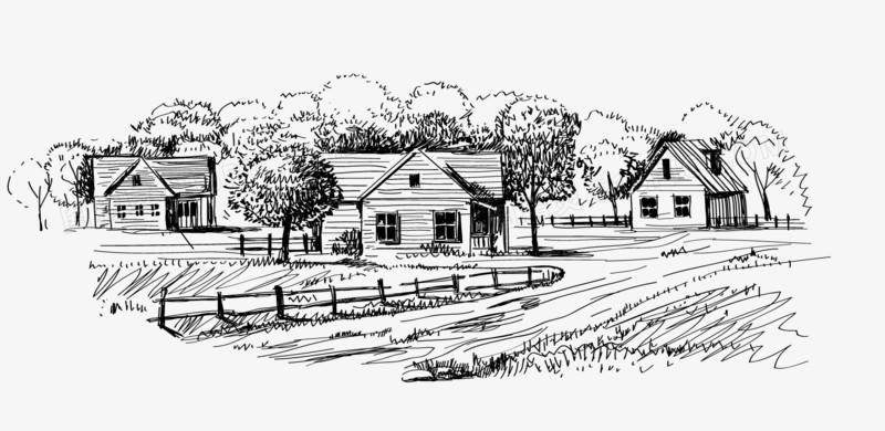手繪農村房子風景