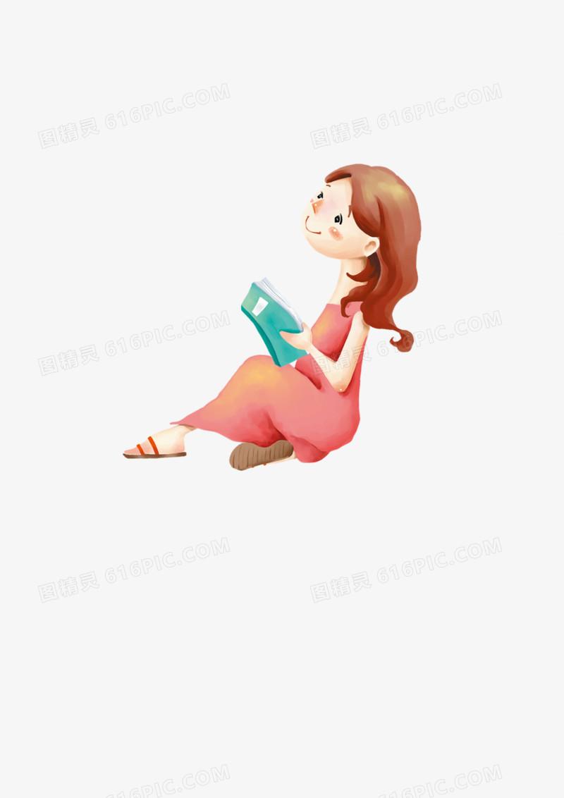 卡通看书的小女孩