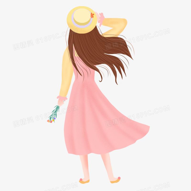 手绘插画风春天女孩的背影免抠元素