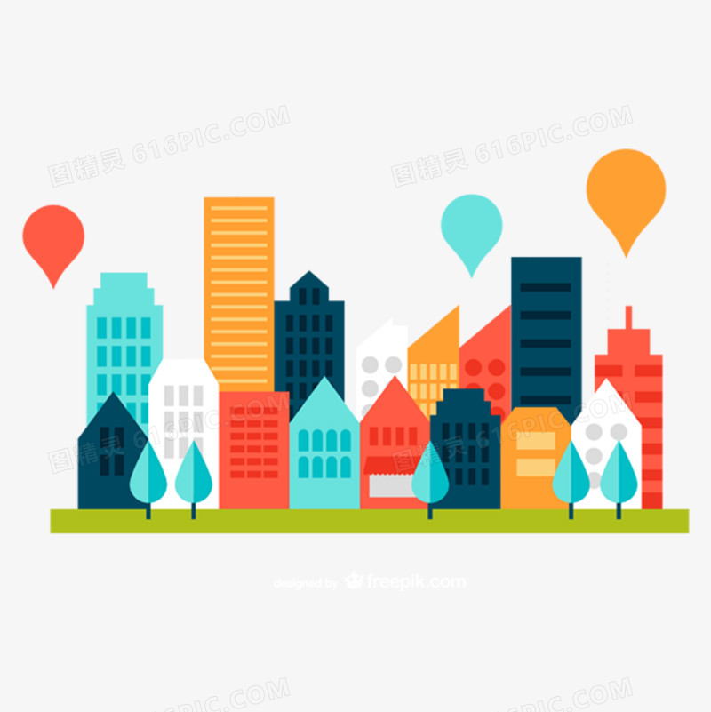 彩色扁平化城市建筑