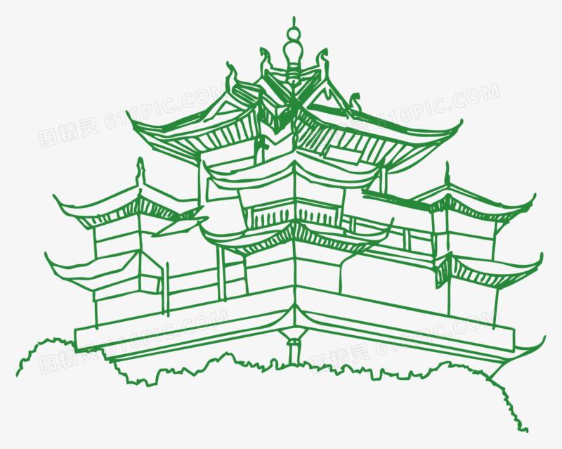 杭州标志性建筑线稿图片免费下载_高清png素材_图精灵