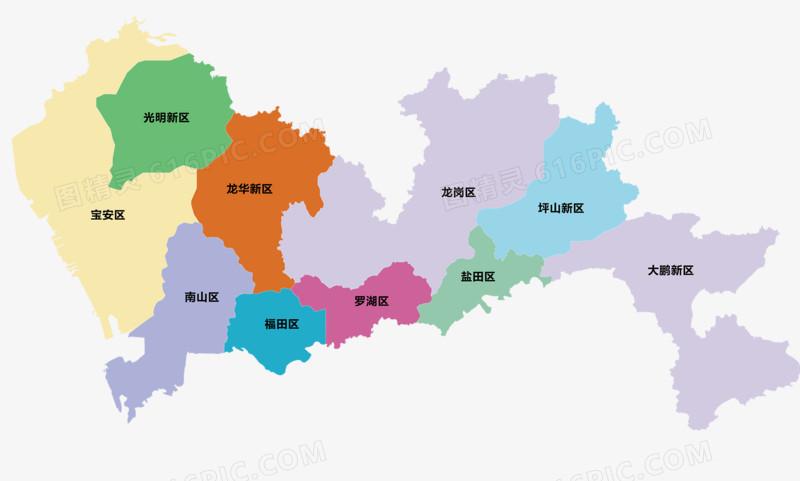 深圳城市地图_深圳行政区域地图图片免费下载_PNG素材_编号z09i4x74z_图精灵