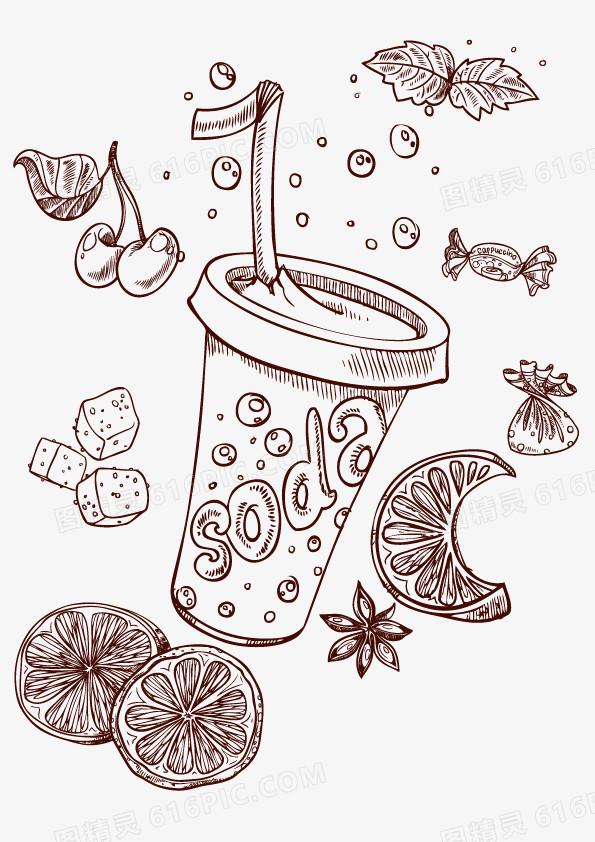 手绘 线条 咖啡纸杯矢量图 装饰图案