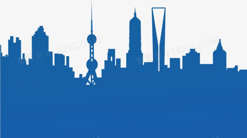藍色上海城市剪影
