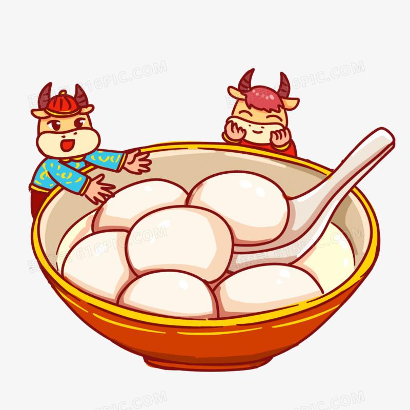 卡通手绘小牛元宵节吃汤圆场景素材