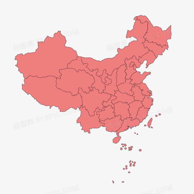 矢量红色中国地图免抠装饰元素