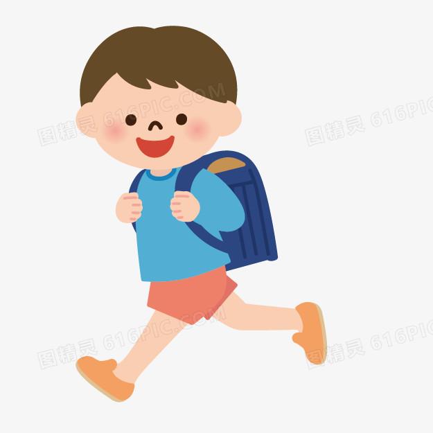 手绘人物素材卡通小人素材 卡通上学的小人
