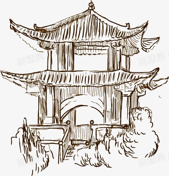 手绘古代建筑