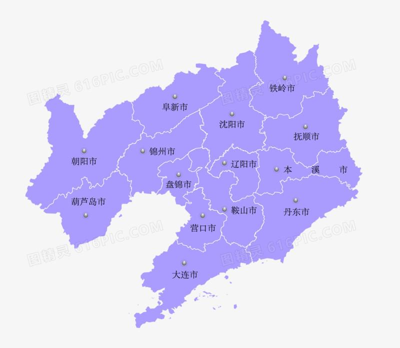 中国辽宁省地图矢量素材