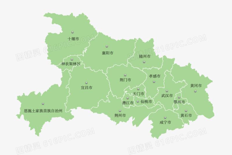 中国湖北省地图矢量素材