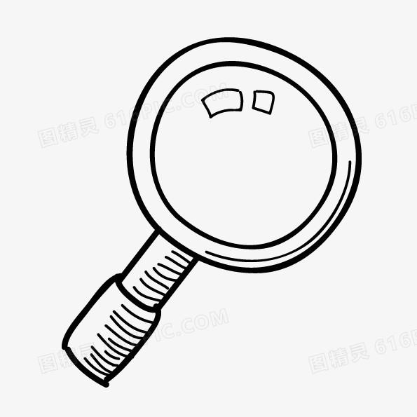 矢量黑白卡通放大镜图片免费下载_高清png素材_图精灵
