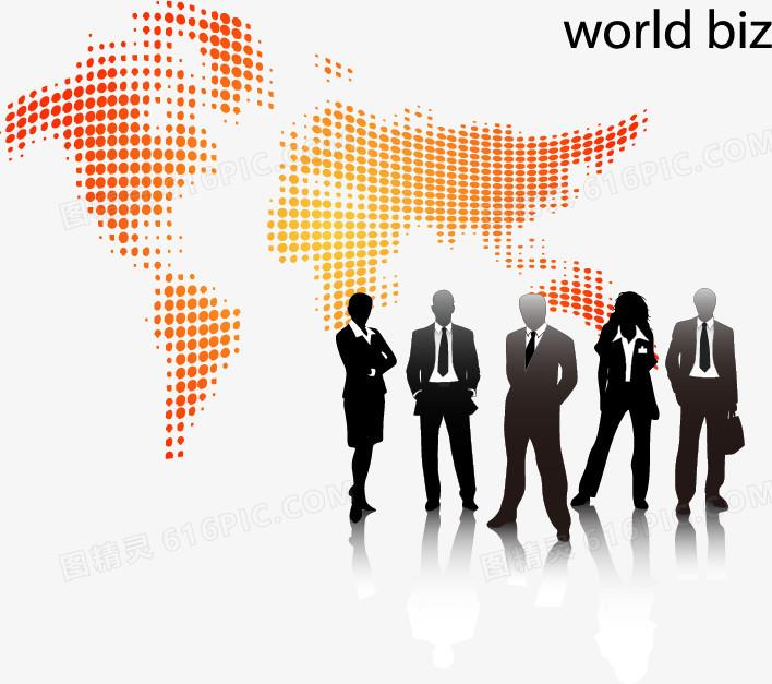 矢量商务人物剪影,商业,世界地图,拼图,白领,经理人,成功人士,统计