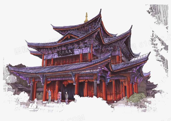 手绘古代建筑楼阁