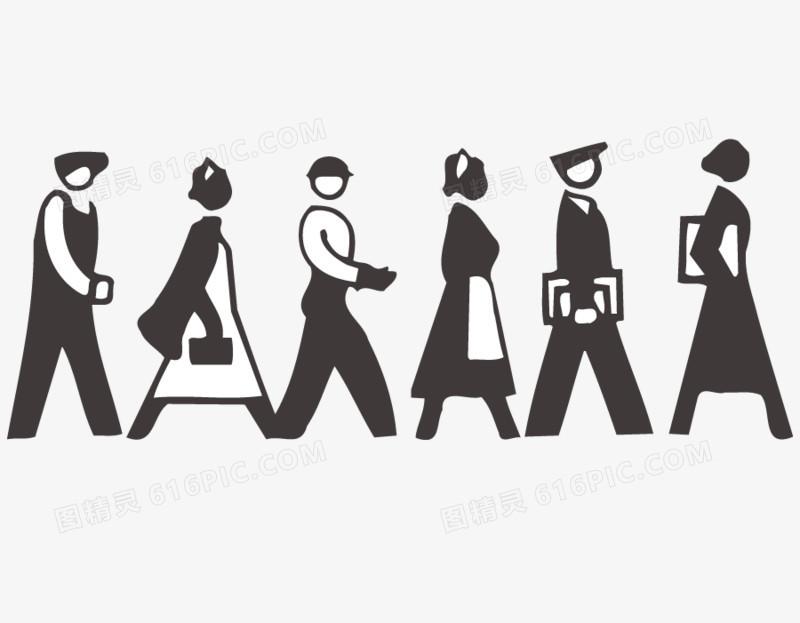 排队走路的人矢量图
