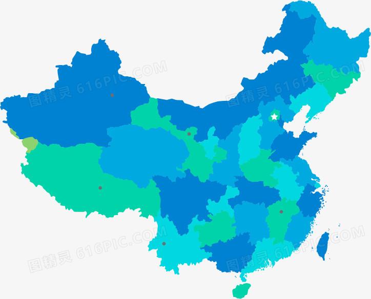 蓝色中国地图