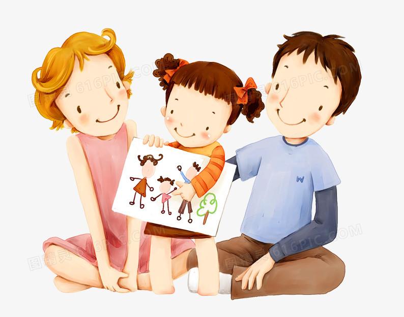 团结友爱卡通图案_可爱的一家人图片免费下载_PNG素材_编号vgpil85lv_图精灵