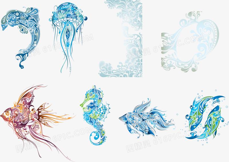 花纹组成的海洋生物矢量图