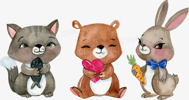 矢量手绘水彩插画小动物
