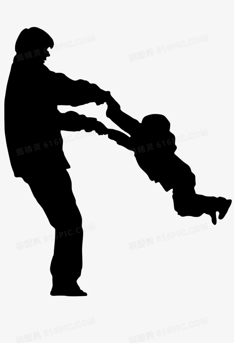 父亲节父子剪影图片免费下载_高清png素材_图精灵